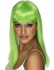 Fluogroene glamourpruik voor dames
