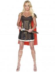 Sexy bruin en goudkleurig gladiator kostuum voor dames