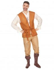 Oranje en beige middeleeuwse boer kostuum voor heren