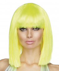 Gele fluopruik met halflange carré voor vrouwen