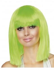 Halflange fluogroene glamourpruik voor vrouwen