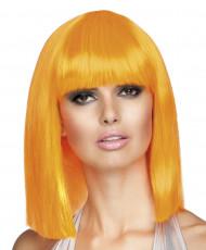 Halflange oranje pruik voor vrouwen