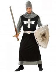 Grijs met zwart middeleeuws ridderkostuum voor mannen