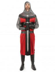 Rode en grijze middeleeuws ridder outfit voor heren