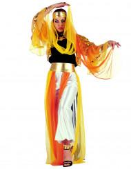 Gele en oranje outfit van een oosterse danseres voor vrouwen
