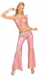 Roze glanzende glitter discobroek voor vrouwen