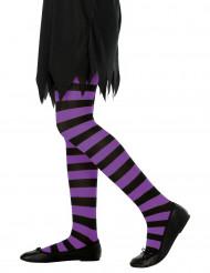 Paars-zwart gestreepte panty voor kinderen