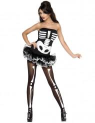 Sexy halloween skelet kostuum voor dames
