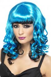 Blauw-zwarte damespruik