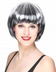 Zwart-witte bob kapsel pruik voor vrouwen
