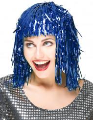 Blauwe glitterpruik voor volwassenen