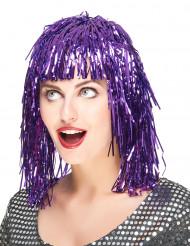 Paarse glitterpruik voor volwassenen