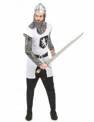 Zilverkleurig en wit ridderkostuum voor mannen