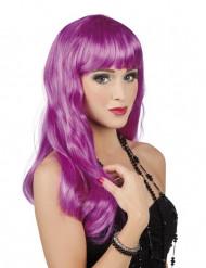Lange paarse damespruik
