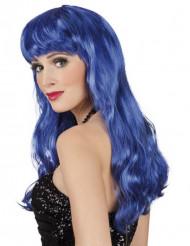 Lange blauwe pruik met poney en golvend haar voor vrouwen