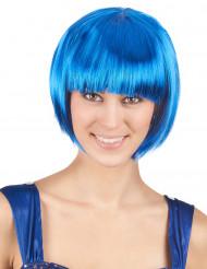 Blauwe korte damespruik
