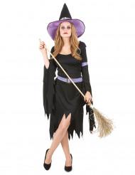 Heksen kostuum met paarse hoed voor vrouwen