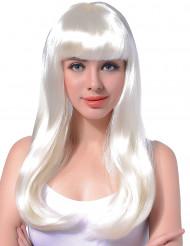 Lange witte damespruik