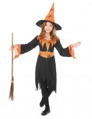 Oranje spinnenweb heksenkostuum voor kinderen