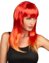 Rode pruik met lange haren voor dames