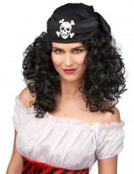 Bruin piraten pruik voor dames met hoofddoekje