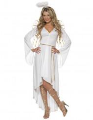 Wit en goudkleurig kerstengel kostuum voor vrouwen