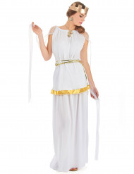Goudkleurig en wit kostuum van een Romeinse godin voor dames