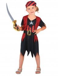 Zwart met rood piraat kostuum voor meisjes