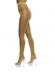 Fluo gele net panty's voor vrouwen