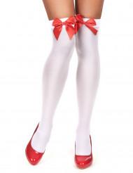Witte kousen met rode strik voor volwassenen