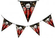 Halloweenslinger met vlagjes met bebloede schedels erop