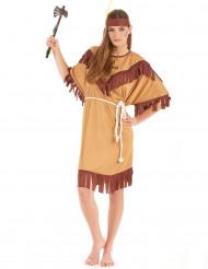 Bruin met beige indianen kostuum voor vrouwen