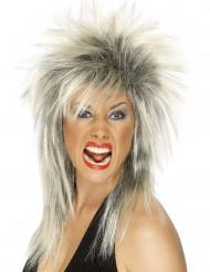 Blond-zwarte rockpruik voor vrouwen