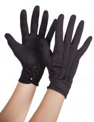 Zwarte handschoenen met sluitknoopje voor volwassenen
