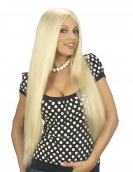Lange blonde pruik met split voor dames