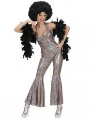 Zilverkleurig disco pak met motieven voor vrouwen