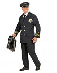 Zwart luchtvaart pilotenkostuum voor mannen