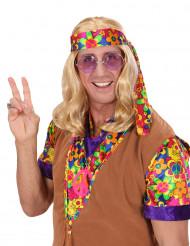 Blonde hippie feestpruik voor volwassenen