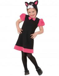 Zwart en roze kattenkostuum voor meisjes