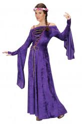 Paarse middeleeuwse prinses outfit voor vrouwen
