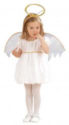 Goudkleurig en wit engelenkostuum voor meisjes
