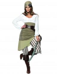 Groen met wit piraten kostuum voor vrouwen