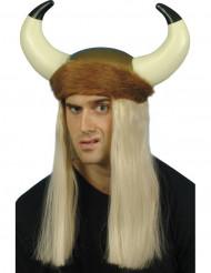 Vikingshelm met lange blonde haren voor volwassenen