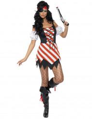 Sexy gekarteld piratenkostuum voor vrouwen