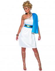 Sexy wit en blauw Romeins kostuum voor vrouwen
