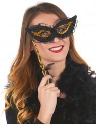 Zwart-gouden masker op stokje voor volwassenen