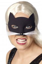 Zwart halfmasker kat voor volwassenen