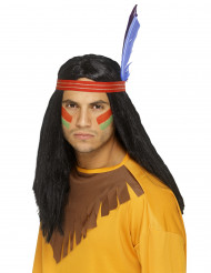 Lange zwarte indianenpruik voor mannen