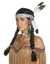 Gevlochten dianenpruik met veren voor vrouwen