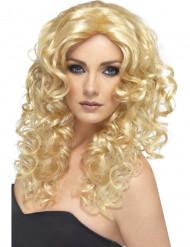 Blonde gegolfde pruik met krullen voor dames